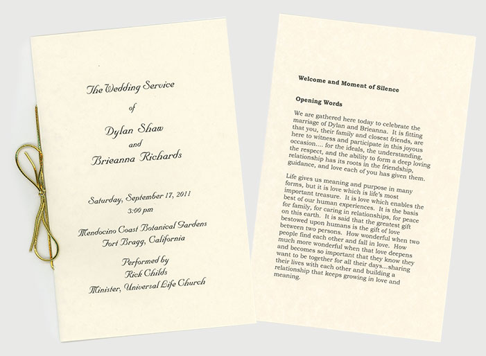 From And Which Includes The Vows Readings All Other Spoken Words After Service I Give It To You As A Lifetime Keepsake Of Your Wedding